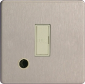 Varilight 13A Unswitched Fuse Spur In Brushed Steel + Flex Outlet With White Insert XDS6UFOWS