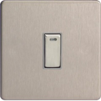 Varilight 1 Gang 20A Double Pole Rocker Switch + Neon In Brushed Steel XDS20NDS