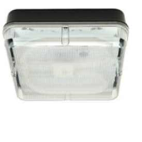 Black/Prismatic IP65 High Frequency Emergency Version Square Polycarbonate 28w 2D Bulkhead Light