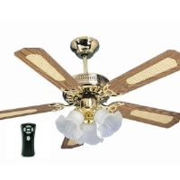 """Global Santa Monica Polished Brass 42"""" Ceiling Fan With 3 Lights And Remote Control"""