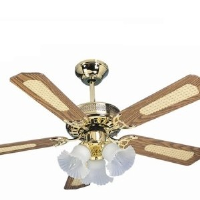 """Global San Diego Polished Brass 42"""" 3 Light Ceiling Fan With Reversible Oak And Cane/Mahogany Blades"""