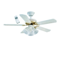 """Global Santa Monica 42"""" 3 Light Kit Ceiling Fan With Remote Control In White With Polished Brass Trim"""
