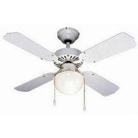 "Global 36"" Rimini Ceiling Fan In White With Globe Light And Reversible White/White And Cane Blades"