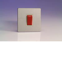 Varilight 45A Cooker Switch (Single Plate) In Brushed Steel With White Insert XDS45SWS