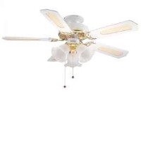 "Global 42"" Belaire Ceiling Fan In White And Brass"