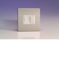 Varilight 13A Switched Fuse Spur In Brushed Steel With White Insert XDS6WS