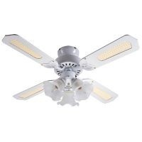 "Global 36"" Rio Ceiling Fan In White With 3 Lights And Reversible White/White Blades"