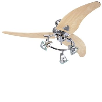 "Global 48"" Scorpion Ceiling Fan In Chrome With 3 Light Spots And Washed Oak Blades"