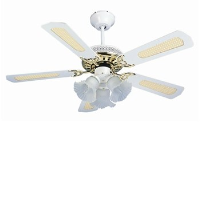 "Global San Diego 42"" 3 Light White And Brass Ceiling Fan With Reversible White And Cane Or White Blades"