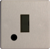 Varilight 13A Unswitched Fuse Spur In Brushed Steel + Flex Outlet With Black Insert XDS6UFOBS