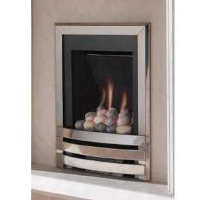 Flavel Windsor Contemporary Gas Fire In Polished Silver With Pebbles