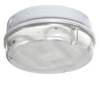 IP65 28w 2D High Frequency Round Polycarbonate Bulkhead Light In White/Prismatic