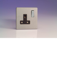 Varilight 1 Gang 13A Switched Socket In Brushed Steel With Black Insert XDS4BS