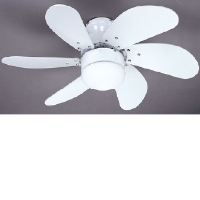 "Global 30"" Atlanta Ceiling Fan With A Light In The Middle In White"