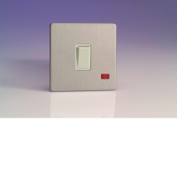 Varilight 1 Gang 20A Double Pole Rocker Switch + Neon In Brushed Steel With White Insert XDS20NWS