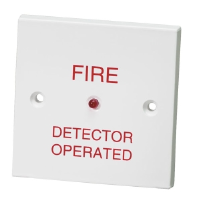 "1 Gang Remote Indicator Unit With ""Fire Detector Operated"" Text In Red"