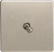 Varilight 1 Gang 10A 1 Or 2 Way Toggle Switch In Brushed Steel XDST1S