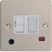 Varilight XFS6FONW 13A Switched Fused Spur In Brushed Steel With Neon & Flex Outlet With White Insert
