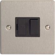 Varilight XFS6B 13A Switched Fused Spur In Brushed Steel With Black Insert