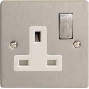 Varilight XFS4DW 1 Gang 13A Switch Socket In Brushed Steel With White Insert