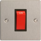 Varilight XFS45SB 45A Cooker Switch On A Single Plate In Brushed Steel With Black Insert