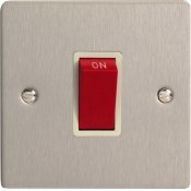 Varilight XFS45SW 45A Cooker Switch On A Single Plate In Brushed Steel With White Insert