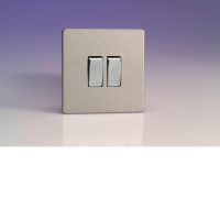 Varilight 2 Gang 10A 1 Or 2 Way Rocker Switch In Brushed Steel XDS2S