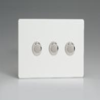 Varilight HDQ33S 3 Gang 400W 2-Way Push-On Push-Off Dimmer On A Twin Plate