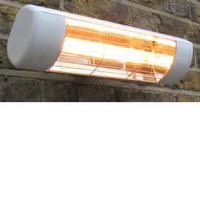 Victory Lighting HLW15G 1500W Infrared Halogen Quartz Heater In White With Gold Lamp