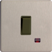 Varilight 1 Gang 20A Double Pole Rocker Switch + Neon In Brushed Steel With Black Insert XDS20NBS