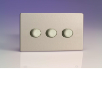 Varilight 3 Gang 250W 2-Way Push-On Push-Off Dimmer (Twin Plate) In Brushed Steel HDS43S