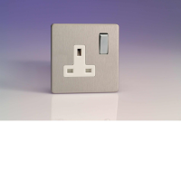 Varilight 1 Gang 13A Switched Socket In Brushed Steel With White Insert XDS4WS