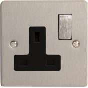 Varilight XFS4DB 1 Gang 13A Switch Socket In Brushed Steel With Black Insert