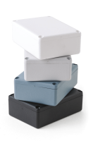 """T2 (T Series Small Multi-Purpose Boxes), in Black. Dimensions 75mm x 56mm x 25mm (2.95"""" x 2.20"""" x 0.98""""). Manufactured in ABS Plastic."""