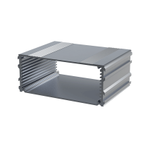 "B3-220BK (Series 3 Extruded Aluminium Enclosures), in Black. Dimensions 220mm x 108.5mm x 45mm (8.66"" x 4.27"" x 1.77""). Manufactured in Aluminium."
