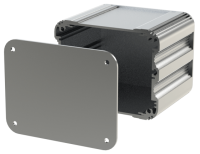 "U2S-104x080 (UnioBox 2 Extruded Aluminium Enclosures), in Silver. Dimensions 80mm x 104mm x 82mm (3.15"" x 4.10"" x 3.23""). Manufactured in Aluminium."