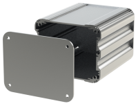 "U2S-104x120 (UnioBox 2 Extruded Aluminium Enclosures), in Silver. Dimensions 120mm x 104mm x 82mm (4.72"" x 4.10"" x 3.23""). Manufactured in Aluminium."