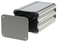 "U2S-104x160 (UnioBox 2 Extruded Aluminium Enclosures), in Silver. Dimensions 160mm x 104mm x 82mm (6.30"" x 4.10"" x 3.23""). Manufactured in Aluminium."