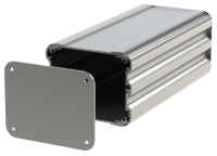 "U2S-104x220 (UnioBox 2 Extruded Aluminium Enclosures), in Silver. Dimensions 220mm x 104mm x 82mm (8.66"" x 4.10"" x 3.23""). Manufactured in Aluminium."