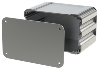 "U2S-132x080 (UnioBox 2 Extruded Aluminium Enclosures), in Silver. Dimensions 80mm x 132mm x 82mm (3.15"" x 5.20"" x 3.23""). Manufactured in Aluminium."