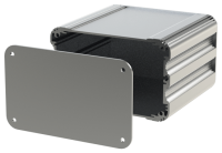 "U2S-132x120 (UnioBox 2 Extruded Aluminium Enclosures), in Silver. Dimensions 120mm x 132mm x 82mm (4.72"" x 5.20"" x 3.23""). Manufactured in Aluminium."