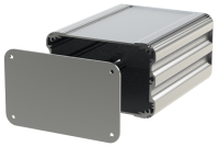 "U2S-132x160 (UnioBox 2 Extruded Aluminium Enclosures), in Silver. Dimensions 160mm x 132mm x 82mm (6.30"" x 5.20"" x 3.23""). Manufactured in Aluminium."