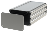 "U2S-132x220 (UnioBox 2 Extruded Aluminium Enclosures), in Silver. Dimensions 220mm x 132mm x 82mm (8.66"" x 5.20"" x 3.23""). Manufactured in Aluminium."