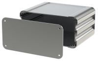 "U2S-164x120 (UnioBox 2 Extruded Aluminium Enclosures), in Silver. Dimensions 120mm x 164mm x 82mm (4.72"" x 6.46"" x 3.23""). Manufactured in Aluminium."