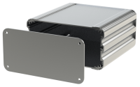 "U2S-164x160 (UnioBox 2 Extruded Aluminium Enclosures), in Silver. Dimensions 160mm x 164mm x 82mm (6.30"" x 6.46"" x 3.23""). Manufactured in Aluminium."