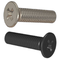 000-086-006 (Standard Enclosure Screws - Recessed Pozi Drive, Countersink Head). Manufactured in 304S31, Colour Black. (Deltron Enclosures)