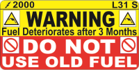 L031 S - Do Not use Old Fuel Label 50x25mm (100)