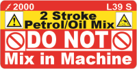 L039 S - 2 Stroke Do Not Mix Labels (100)