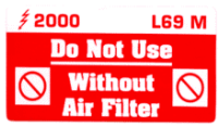 L069 M - Do Not use without Air Filter (Medium)