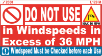 L129 M - Do Not use in Windspeeds x 100